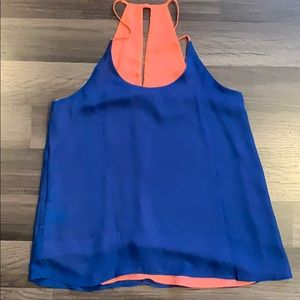 Reversible blue and coral tank top size small